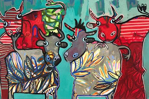 Cows of Color 70 x 110 cm