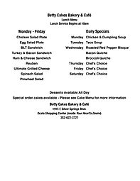 Betty Cakes Bakery & Cafe Lunch Menu