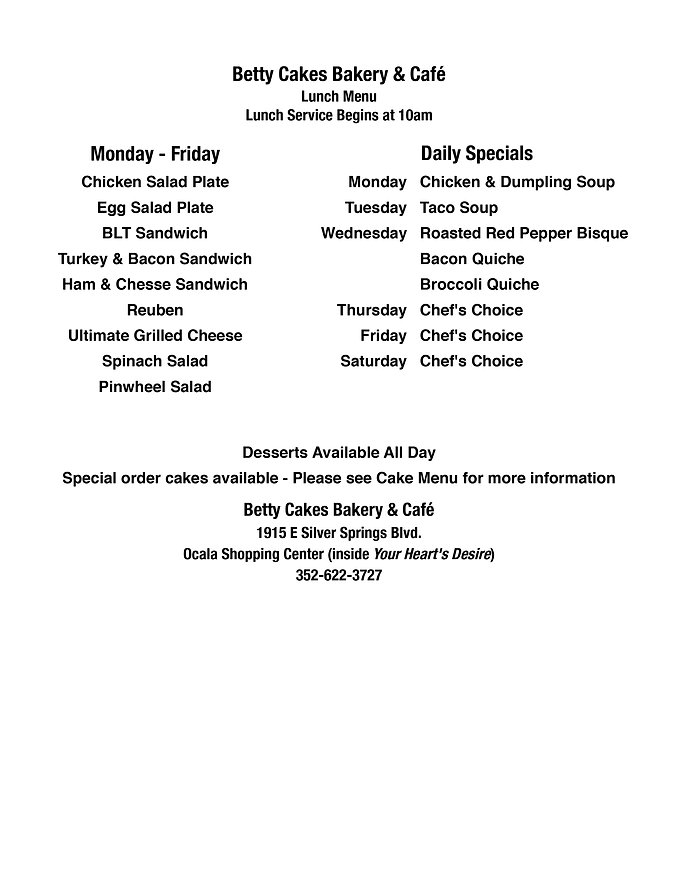 Betty Cakes Bakery Lunch Menu