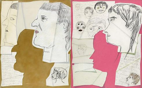Self portrait pink _ gold, Acrilic _ Cra