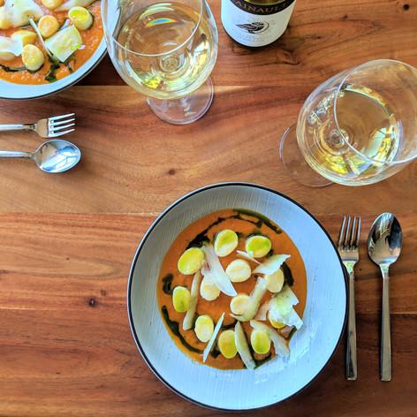 Ricotta gnocchi, sugo, Pecorino, basil oil