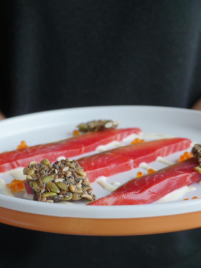Cured salmon, horseradish cream, flax, roe