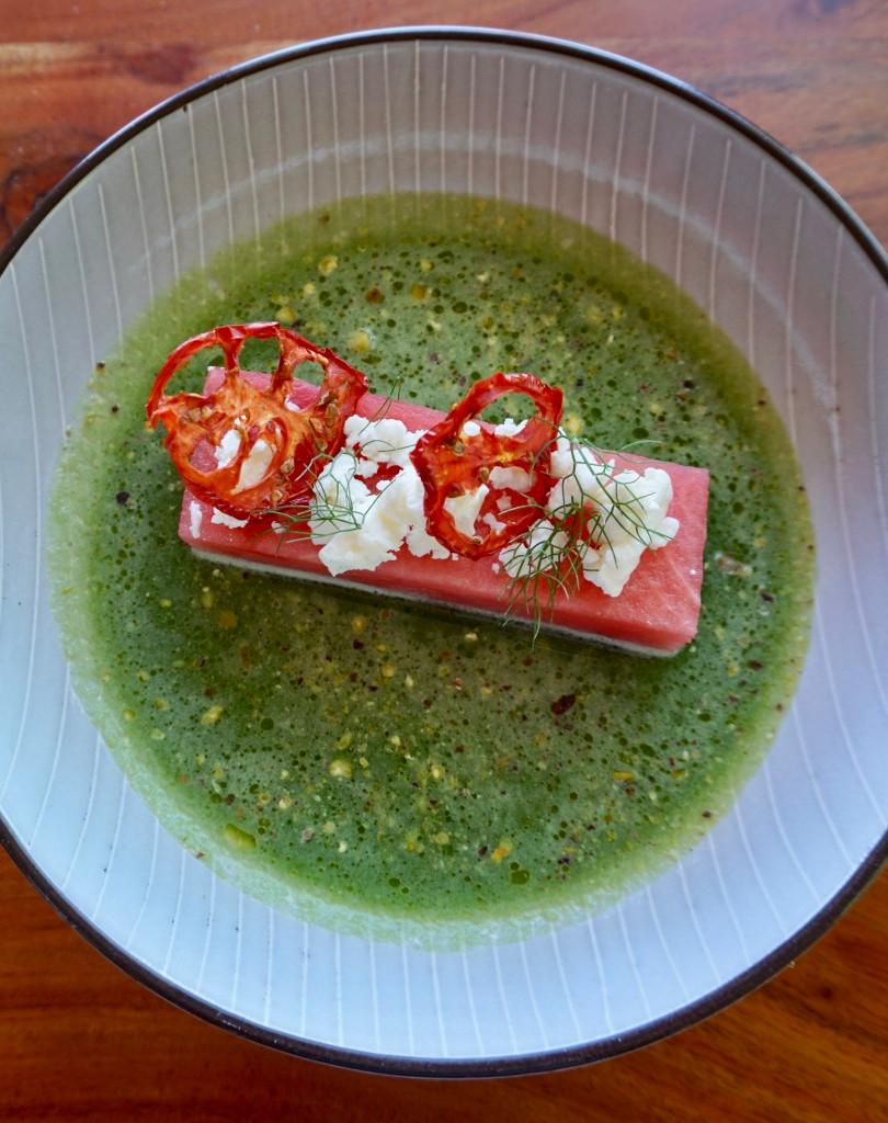 Watermelon, cucumber, goats cheese, pistachio