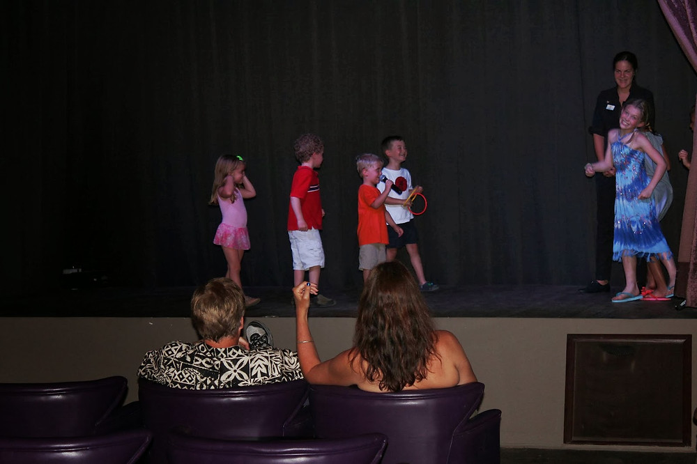 M & B in the kids' club talent show.