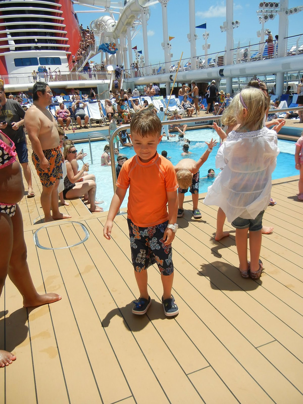 B at the pool deck dance party