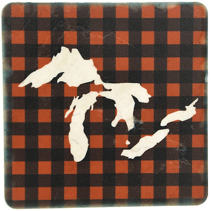 Great Lakes Outline Plaid Tile Coaster