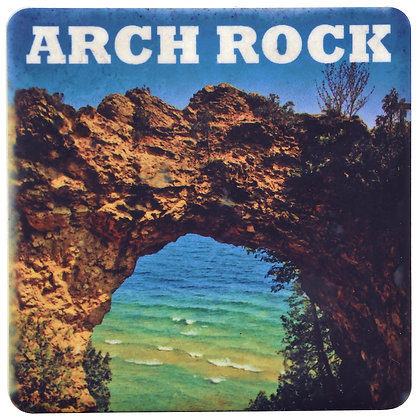 Iconic Detroit Arch Rock Tile Coaster