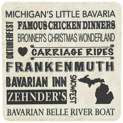 Frankenmuth Typography White Tile Coaster