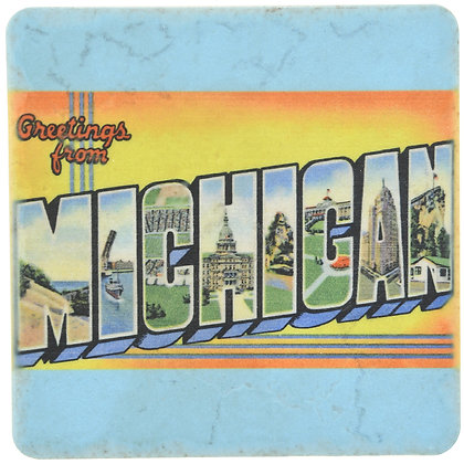 Greetings From Michigan Tile Coaster