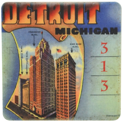 Vintage Detroit Skyscrapers Tile Coaster