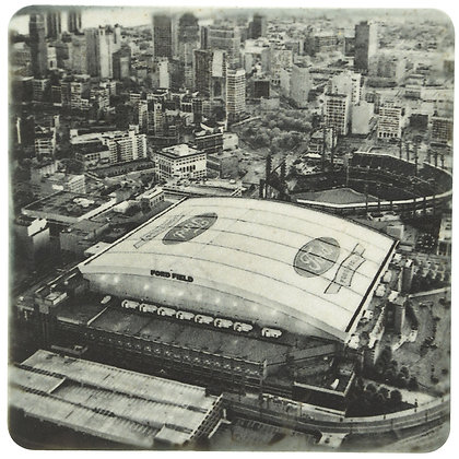 Ford Field Aerial Black And White Tile Coaster