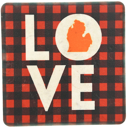 Love MI Plaid Tile Coaster