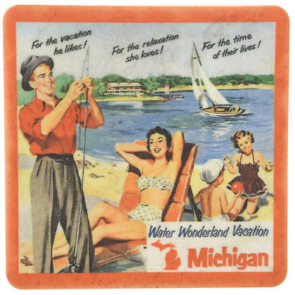 Retro Michigan Vacation Tile Coaster