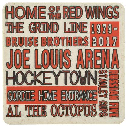 Joe Louis Arena Typography White Tile Coaster
