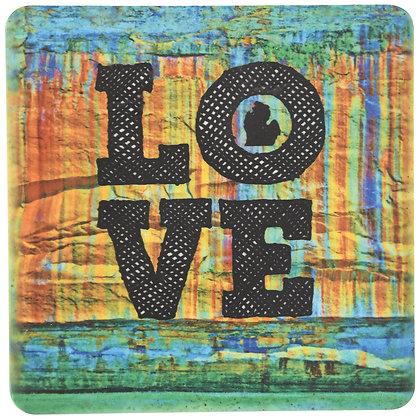 Love Painted Rocks Tile Coaster