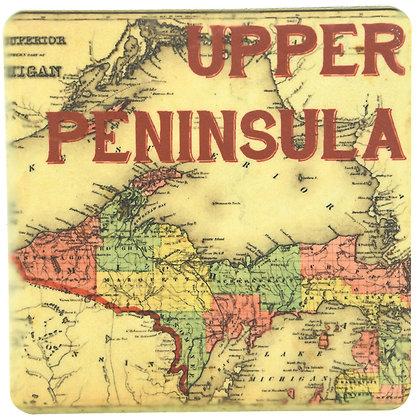 Upper Peninsula Map Tile Coaster
