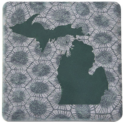Iconic Detroit Michigan Petoskey Stone Tile Coaster
