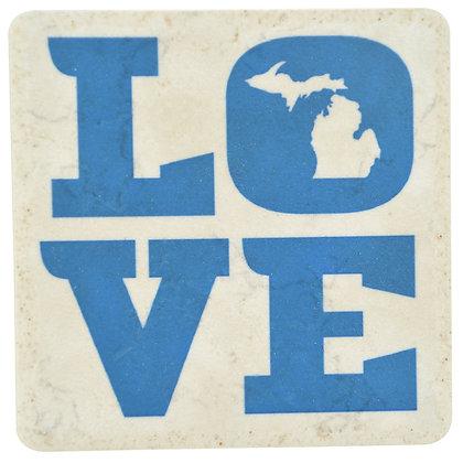 Michigan Love Blue Tile Coaster