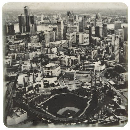 Comerica Park Aerial Black And White Tile Coaster