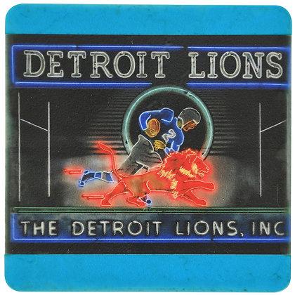 Vintage Detroit Lion's Neon Sign Tile Coaster