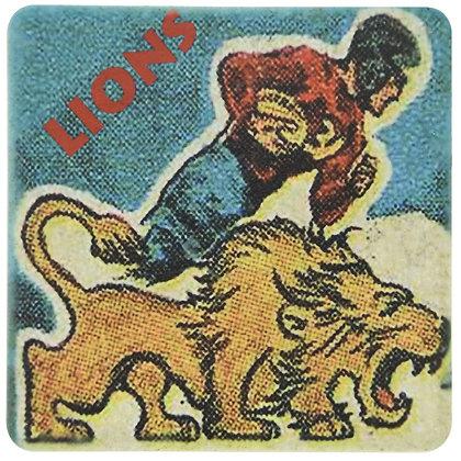 Vintage Detroit Lions Cartoon Tile Coaster