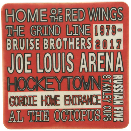 Joe Louis Arena Typography Red Tile Coaster