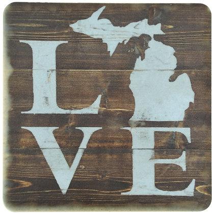 Rustic Michigan Love Tile Coaster