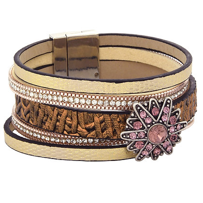 Pink Blossom Copper Band Snap Jewelry Bracelet