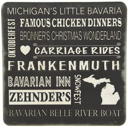 Frankenmuth Typography Black Tile Coaster