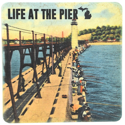MI Life At The Pier Tile Coaster