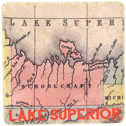 Lake Superior Map Tile Coaster