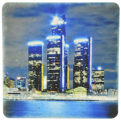 Detroit Renaissance Center Night Skyline Tile Coaster