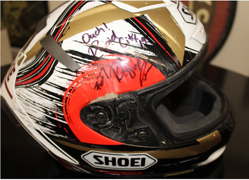 """Shoei Helmet - Signed and donated by #27 - Robert """"Bugs"""" Pearson"""