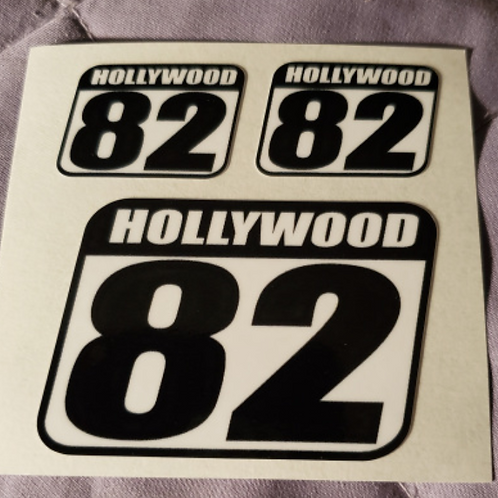 "Hollywood Higgins stickers - large is 2.75"" square, small are 1.25 X 1.00"""