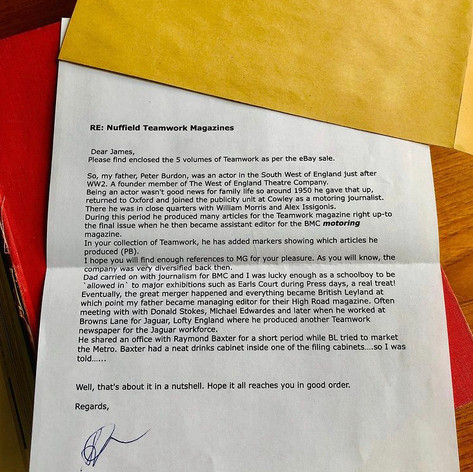"""Letter of provenance for the """"Teamwork"""" Bound Magazine Collection"""