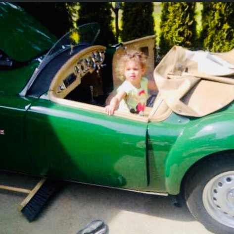 """Rob's grand daughter Selena helping """"Papa"""" with the MG"""