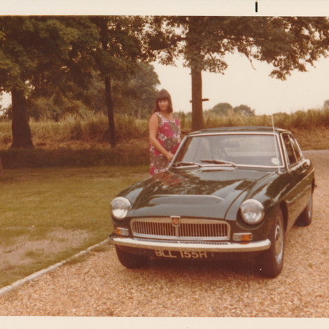 BLL155H - Rob's 1968 MGC GT with Denise - heavily pregnant with James Early 1973