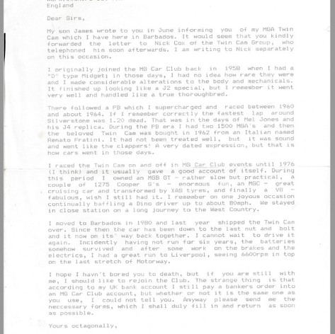 Rob's MGCC letter