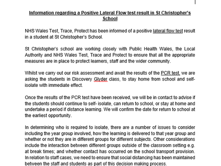 Information regarding a positive lateral flow test result in school - 8th July 2021