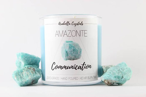 Amazonite Crystal candle