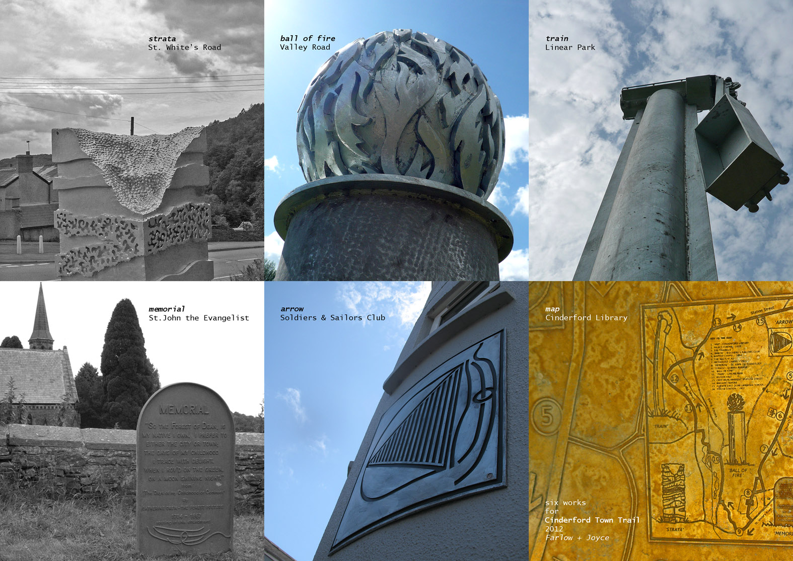six works marking the route