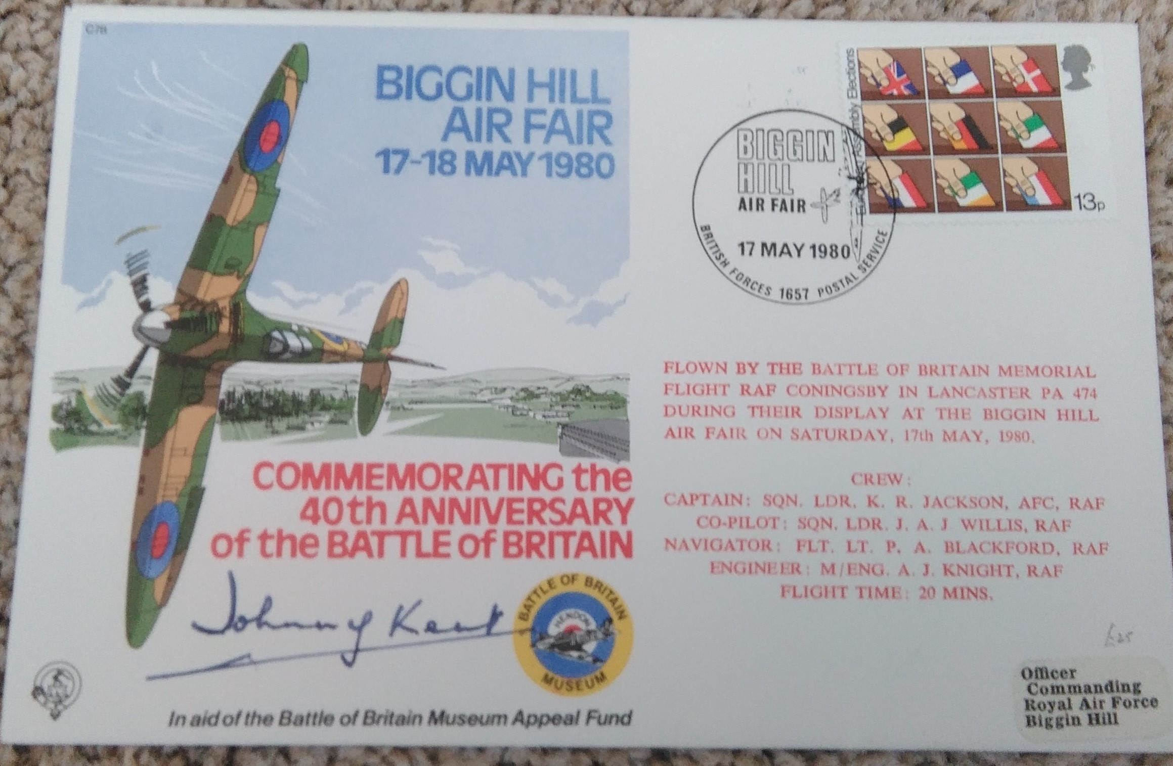 Johnny Kent Signed First Day Cover