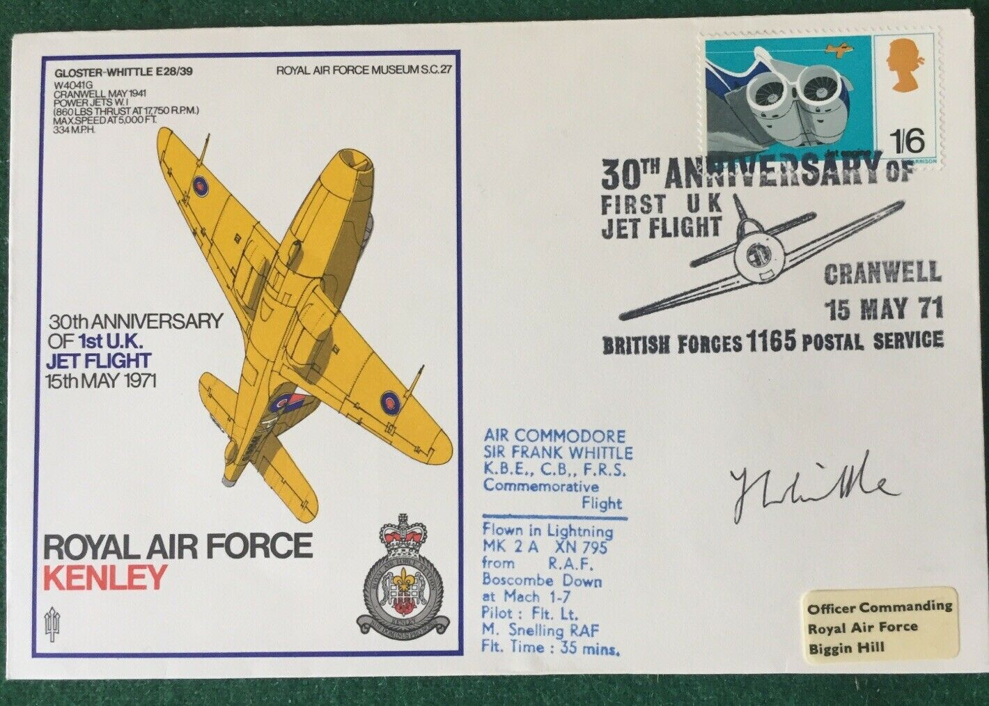 1st Jet Flight FDC - Signed Frank Whittle