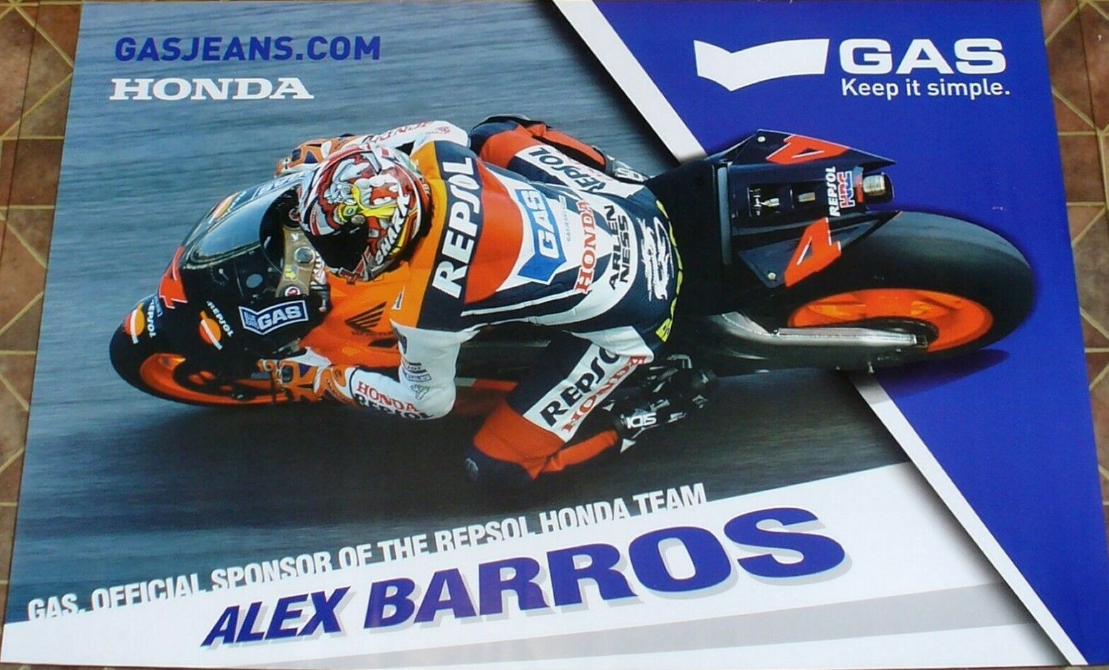 Alex Barros Gas Honda Poster 2004
