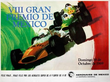 Original Mexico 1969 F1 GP Poster