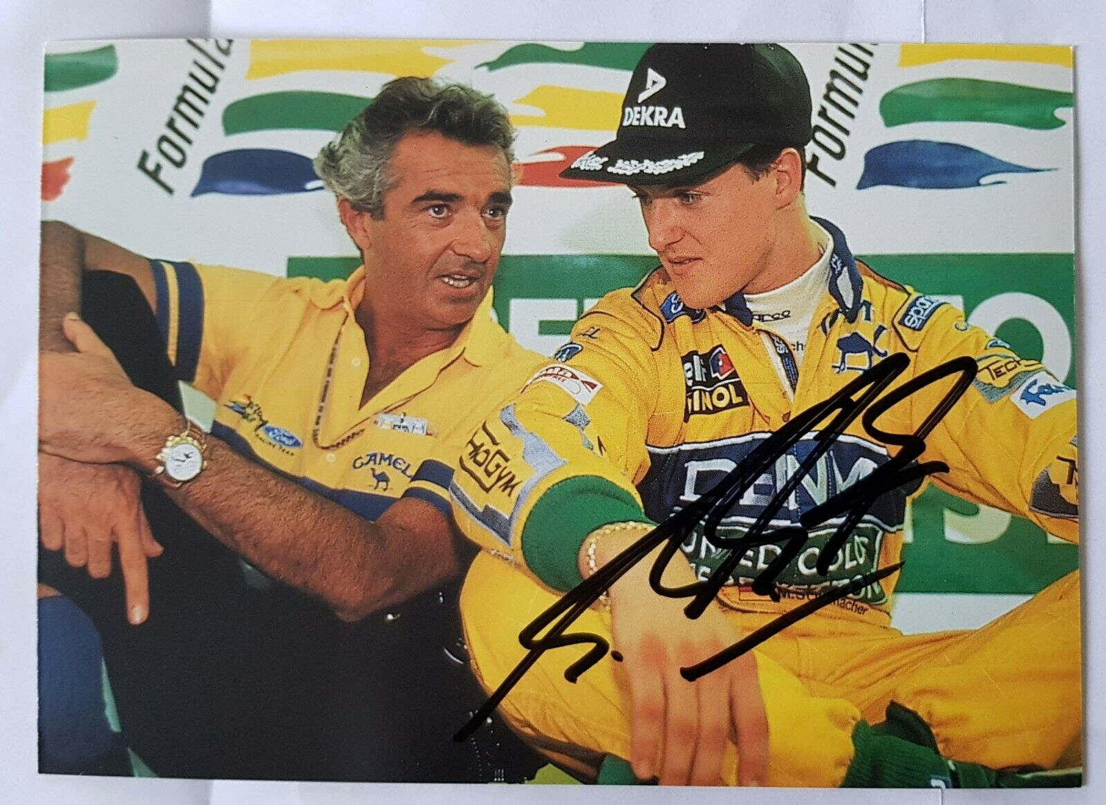 Michael Schumacher Signed Benetton Card.
