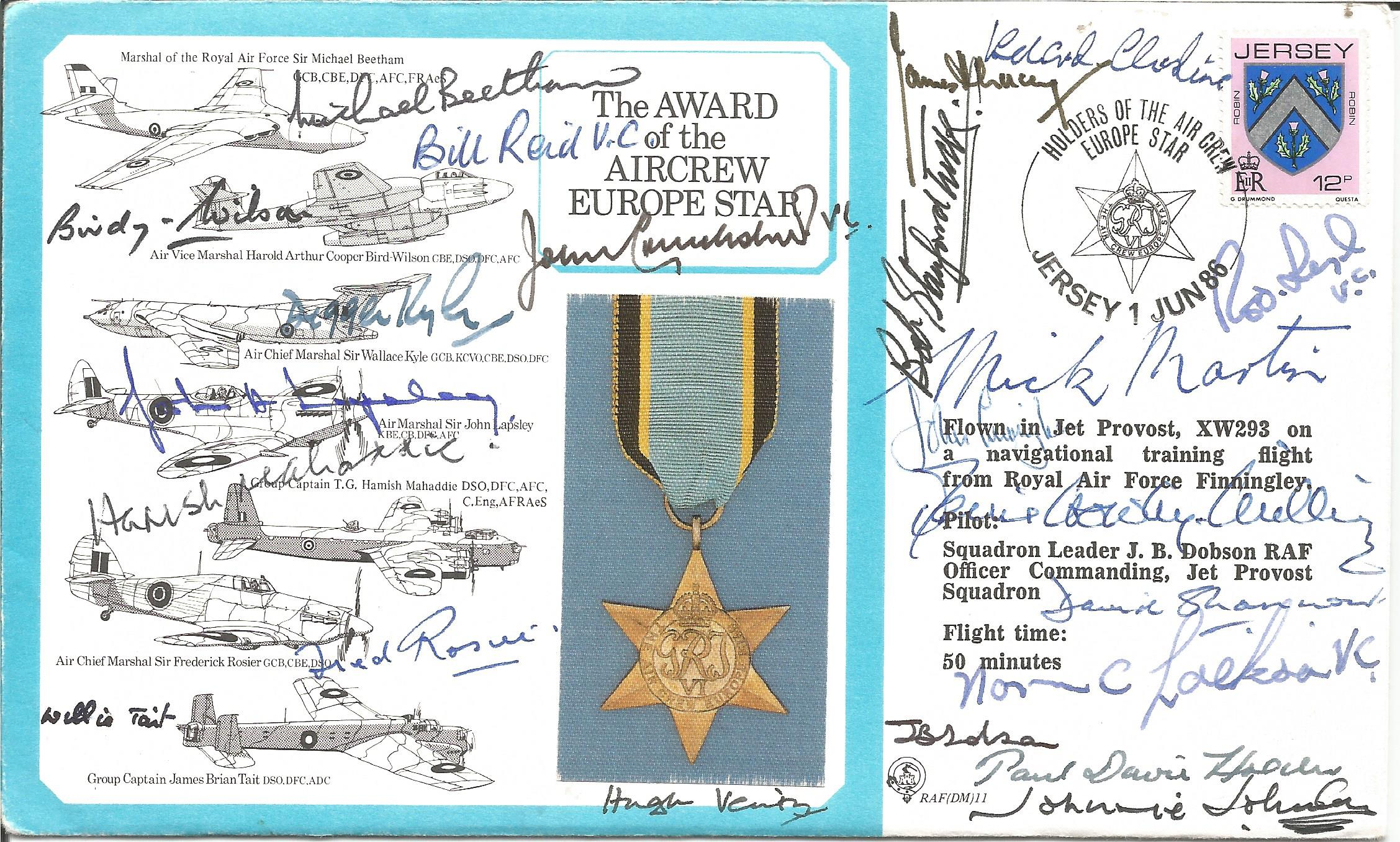 MULTI SIGNED Aircrew Europe Star FDC