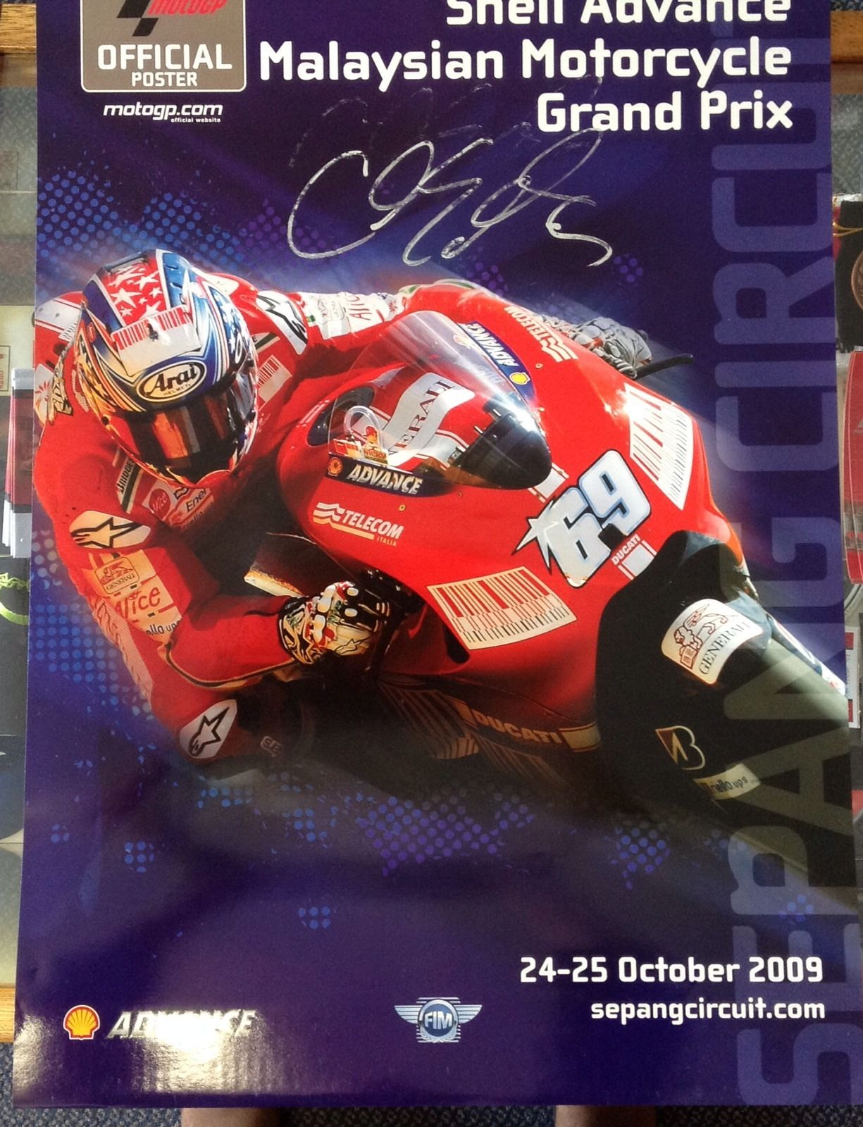 2009 Malaysian Bike GP Poster Signed C.Edwards