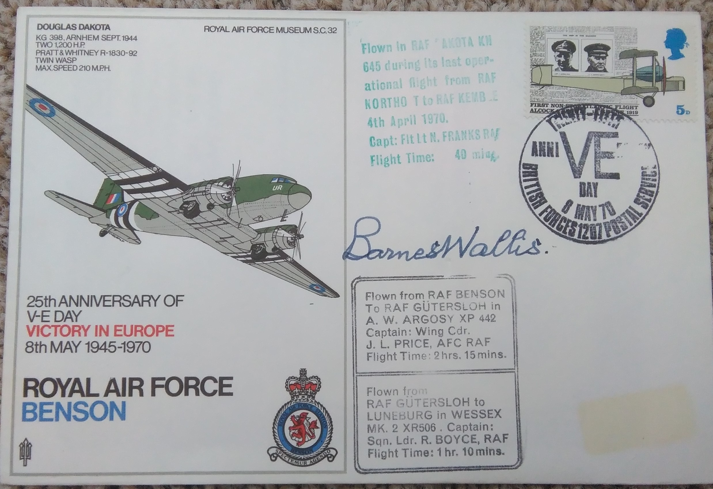 RAF Benson FDC Barnes Wallis Signed