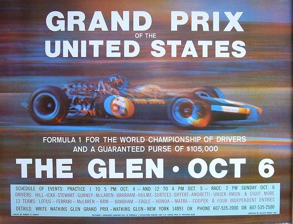 Original 1968 Watkins Glen Poster
